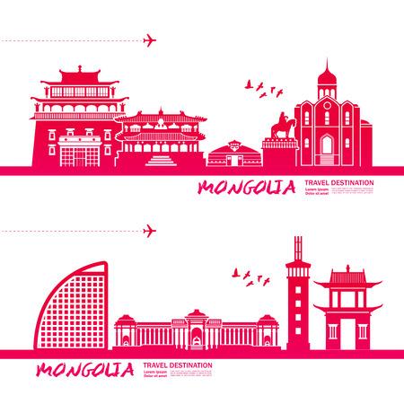 Mongolia travel destination vector illustration.