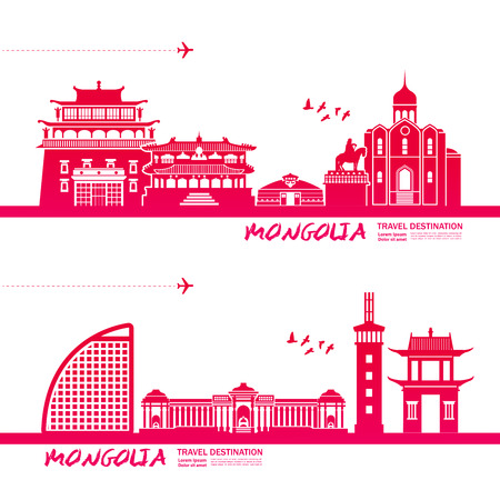 Mongolia travel destination vector illustration.