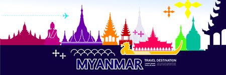 Myanmar travel destination vector illustration. Иллюстрация