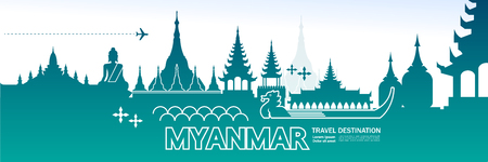 Myanmar travel destination vector illustration. Ilustração