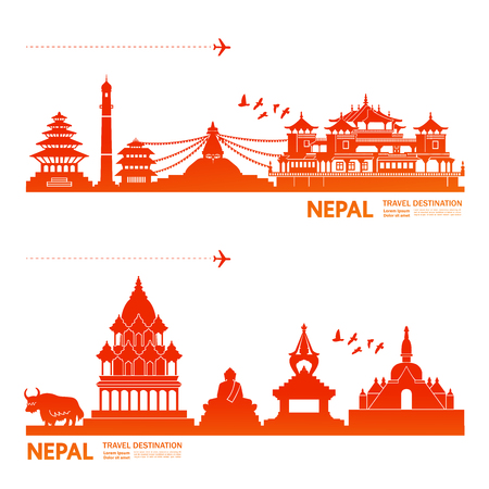 NEPAL travel destination vector illustration.
