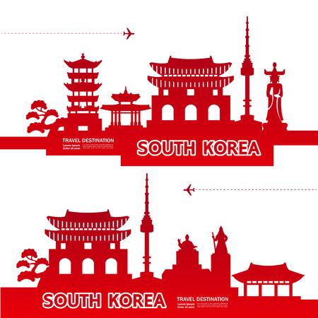 SOUTH KOREA travel destination vector illustration.