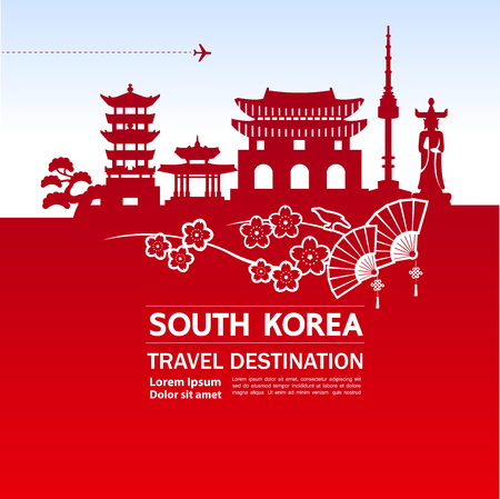 SOUTH KOREA travel destination vector illustration.