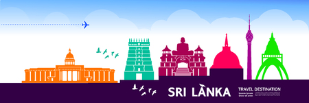 Sri Lanka travel destination vector illustration.