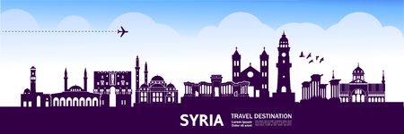 SYRIA travel destination vector illustration. Stock Illustratie