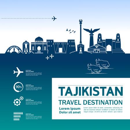Tajikistan travel destination vector illustration. Çizim