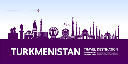 Turkmenistan travel destination vector illustration.