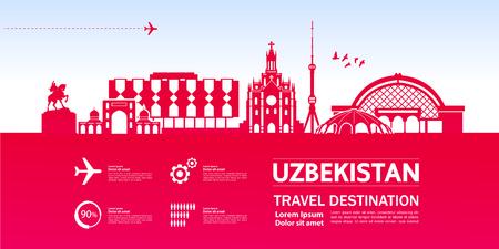 Uzbekistan travel destination vector illustration. Illustration