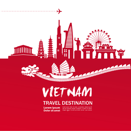 Vietnam travel destination vector illustration.