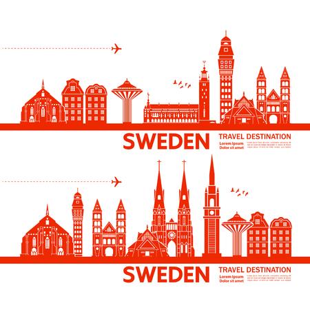 Sweden travel destination vector illustration. Vektorgrafik
