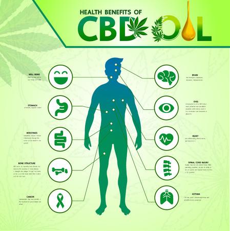 Beneficios del cannabis para la ilustración de vector de salud.