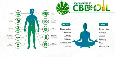 Avantages du cannabis pour l'illustration vectorielle de santé.