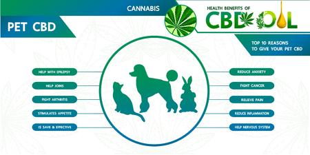Beneficios del cannabis para la ilustración de vector de salud de mascotas.