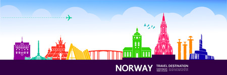 Norway travel destination vector illustration. Ilustrace