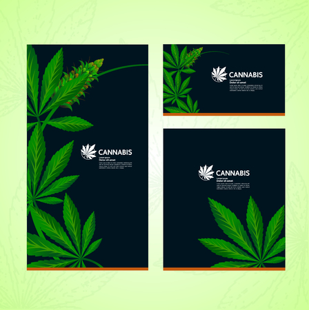 Green cannabis leaf background illustration.