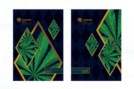 Elegant green cannabis leaf background illustration.