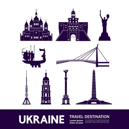 Ukraine travel destination grand vector illustration. Çizim