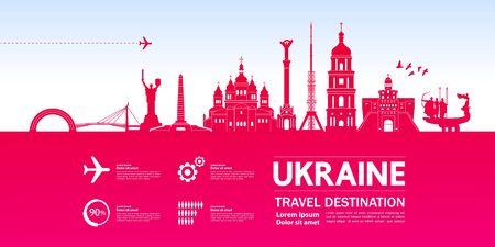 Ukraine travel destination grand vector illustration. 일러스트