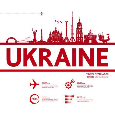 Ukraine travel destination grand vector illustration. Illustration