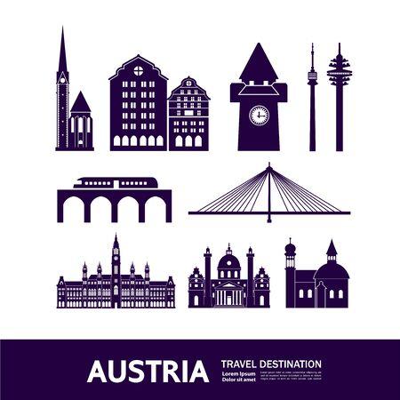 Austria travel destination vector illustration.  イラスト・ベクター素材