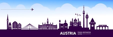 Austria travel destination vector illustration. Ilustrace