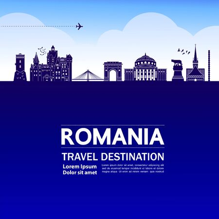 Romania travel destination grand vector illustration. Illustration