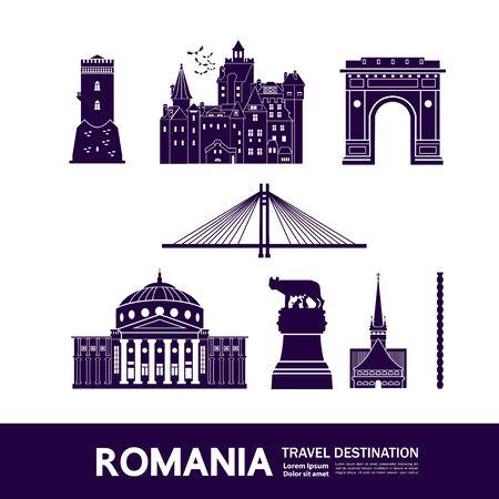 Romania travel destination grand vector illustration. Vettoriali