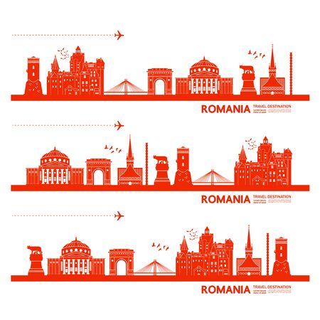 Romania travel destination grand vector illustration. Çizim