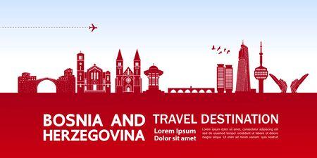 Bosnia and Herzegovina travel destination grand vector illustration.