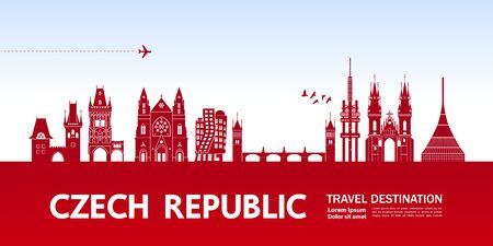 Czech Republic travel destination grand vector illustration. Stock fotó - 126640352