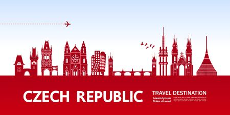 Czech Republic travel destination grand vector illustration.