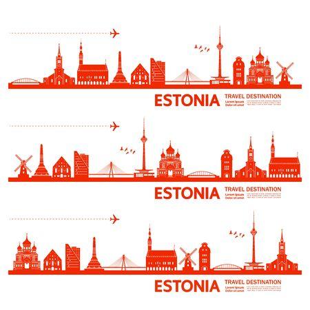 Estonia travel destination grand vector illustration.