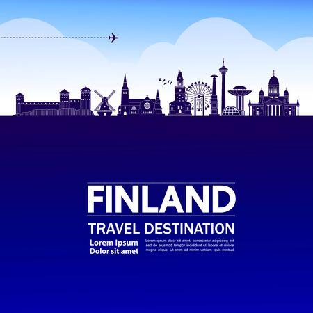 Finland travel destination grand vector illustration.