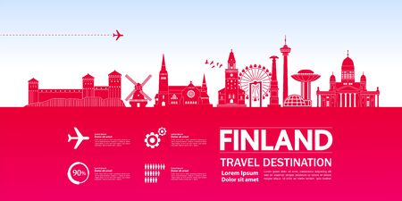 Finland travel destination grand vector illustration.
