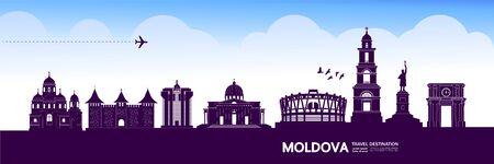 Moldova travel destination grand vector illustration. Illustration