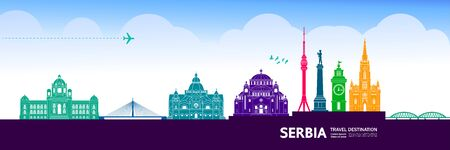 Serbia travel destination grand vector illustration.