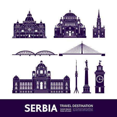 Serbia travel destination grand vector illustration. Vektorové ilustrace