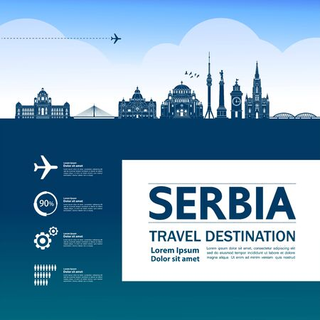 Serbia travel destination grand vector illustration.