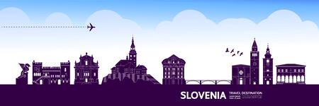 Slovenia travel destination grand vector illustration.