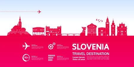 Slovenia travel destination grand vector illustration.