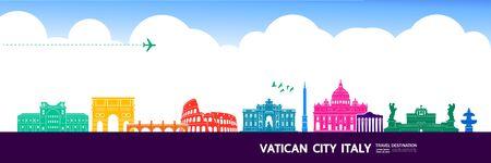 Italy travel destination grand vector illustration. 向量圖像