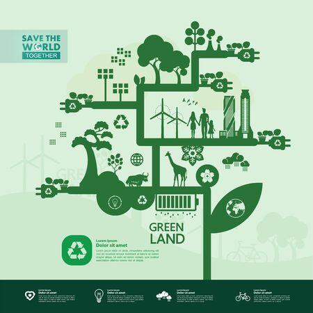 Salvar el mundo juntos ilustración de vector de ecología verde.