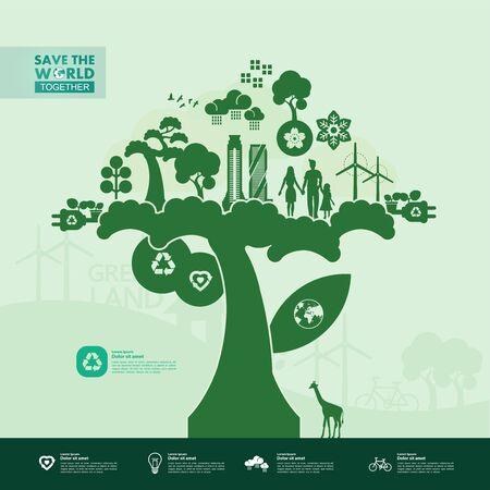 Save the world together green ecology vector illustration. Ilustración de vector