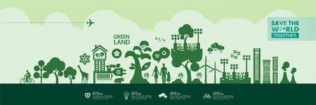 Speichern Sie die Welt zusammen grüne Ökologie-Vektor-Illustration.