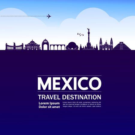 Mexico travel destination grand vector illustration. Ilustração