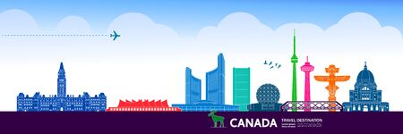 Canada travel destination grand vector illustration. 向量圖像