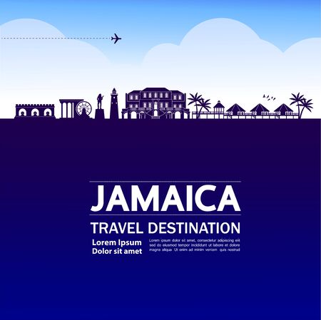 jamaica travel destination grand vector illustration. Vettoriali