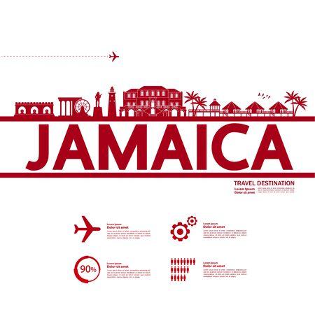 jamaica travel destination grand vector illustration.