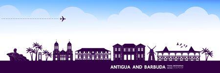 Antigua and Barbuda travel destination grand vector illustration.