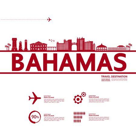 Bahamas travel destination grand vector illustration.